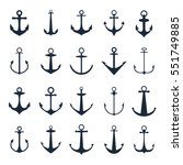 anchor icons. vector boat... | Shutterstock .eps vector #551749885