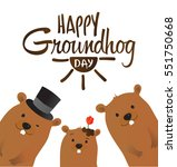 happy groundhog day typographic ... | Shutterstock .eps vector #551750668
