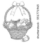 basket with  easter eggs and ... | Shutterstock . vector #551771965