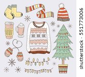 winter elements hand drawn... | Shutterstock .eps vector #551773006