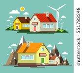 flat design nature scene with... | Shutterstock .eps vector #551783248
