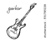 classical electric guitar. hand ... | Shutterstock .eps vector #551785228