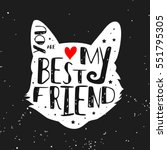 Stock vector typographic poster with cat silhouette and phrase you are my best friend inspirational lettering 551795305
