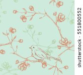 seamless floral background with ... | Shutterstock .eps vector #551800552