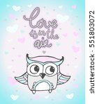 valentine owl  heart pattern.... | Shutterstock .eps vector #551803072