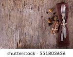 winter holiday dinner plate... | Shutterstock . vector #551803636