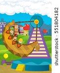 cartoon scene with kids playing ... | Shutterstock . vector #551804182