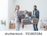 happy young family moving into... | Shutterstock . vector #551805286