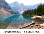 Moraine Lake And Boats In Banf...