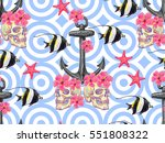 seamless pattern with skull ... | Shutterstock .eps vector #551808322