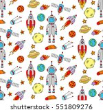 cute outer space symbols... | Shutterstock .eps vector #551809276