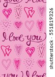 valentine's day pattern with... | Shutterstock .eps vector #551819326