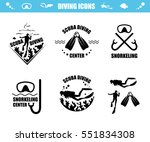 scuba diving icons with corals  ... | Shutterstock .eps vector #551834308
