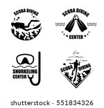 scuba diving icons with corals  ... | Shutterstock .eps vector #551834326