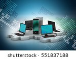 3d illustration of laptop and... | Shutterstock . vector #551837188