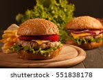 home made hamburger with beef ... | Shutterstock . vector #551838178
