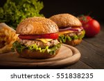 home made hamburger with beef ... | Shutterstock . vector #551838235
