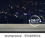 24 Hours Service Icon On Woode...