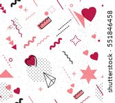 Trendy geometric elements memphis card. Seamless memphis pattern for Happy Valentine's Day celebration with holiday symbols  in retro 80s, 90s memphis style. Vector illustration