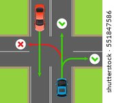 turn rules on four way... | Shutterstock .eps vector #551847586