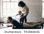 young happy family | Shutterstock . vector #551860636