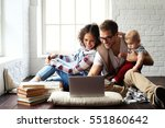 young happy family | Shutterstock . vector #551860642