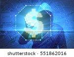 hacker stealing dollars from... | Shutterstock . vector #551862016