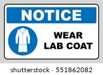 wear laboratory coat sign.... | Shutterstock .eps vector #551862082