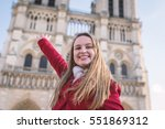 happy young blonde woman... | Shutterstock . vector #551869312