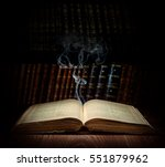open old book and ghost on a... | Shutterstock . vector #551879962