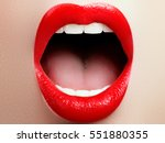 close up of woman's lips with... | Shutterstock . vector #551880355