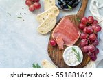 appetizer plate with fresh... | Shutterstock . vector #551881612