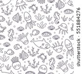seamless pattern with funny... | Shutterstock .eps vector #551884276