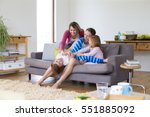 little boy is lying in his... | Shutterstock . vector #551885092