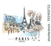 sketch of cute fashion cartoon... | Shutterstock .eps vector #551903722