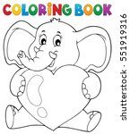coloring book elephant holding... | Shutterstock .eps vector #551919316