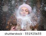 girl wearing warm winter...   Shutterstock . vector #551925655