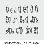 family vector icons set in thin ...