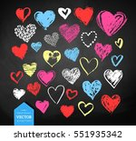vector color chalk drawn... | Shutterstock .eps vector #551935342