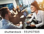 Stock photo entrepreneurs and business people conference in modern meeting room 551937505
