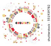 birthday round card design with ... | Shutterstock . vector #551939782
