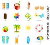 summer holiday icons   vector... | Shutterstock .eps vector #55194364