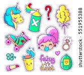 neon stickers set in 80s 90s... | Shutterstock .eps vector #551955388