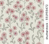 floral pattern with leaves and... | Shutterstock .eps vector #551955472