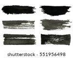 set of gray rough strokes. gray ... | Shutterstock .eps vector #551956498