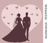 wedding card with the newlyweds ... | Shutterstock .eps vector #551959246