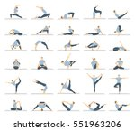 yoga workout for men set on... | Shutterstock .eps vector #551963206
