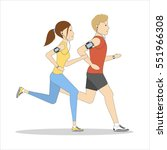 isolated jogging couple on... | Shutterstock .eps vector #551966308