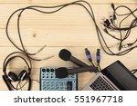 two microphones  headphones... | Shutterstock . vector #551967718