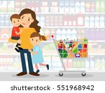 woman in supermarket with two... | Shutterstock .eps vector #551968942